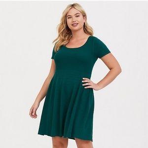 TORRID Green Skater Sweater Dress